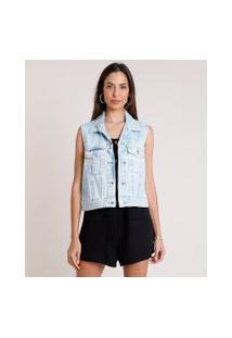 Colete Jeans Feminino Azul Claro