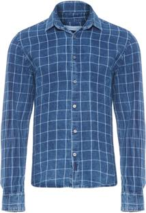 Camisa Masculina Xadrez Indigo Marmorizado - Azul