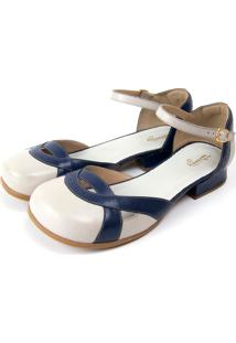 Sapato Miuzzi Branco/Azul Marinho
