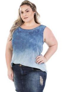 Regata Jeans Molly Com Bordado Plus Size Feminina - Feminino-Azul