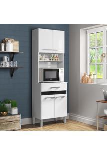 Armário De Cozinha 4 Portas Para Forno Ac410 Branco/Preto - Decibal Móveis