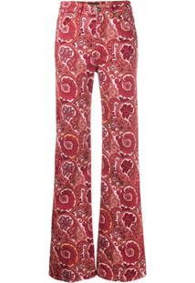Etro Calça Jeans Flares Paisley - Vermelho