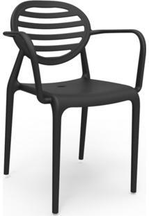 Cadeira Stripe Com Braço Preto
