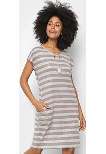Vestido Listrado Pérola Com Bolso Feminino - Feminino-Marrom