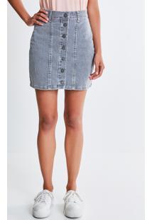 Saia Jeans Listrada Com Botões