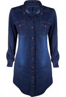 Vestido Outlet Dri Jeans Camisão Manga Longa 8 Botões Bolso Frontal Azul Escuro