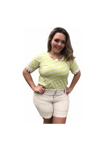 Blusa Feminina Mac-Lu De Manga Curta Listrada Linha Premium Verde Lima Com Branco Sophie