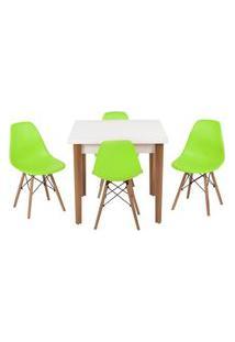 Conjunto Mesa De Jantar Luiza 80Cm Branca Com 4 Cadeiras Eames Eiffel - Verde