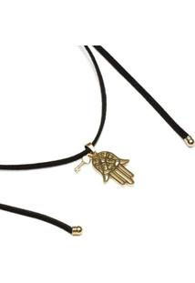 Colar Key Design Lais Black Gold Feminino - Feminino-Preto