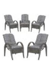Cadeiras 5Un P/ Jardim Lazer Edicula Varanda Descanso Fibra E Tramas Napoli Plus Tabaco A23
