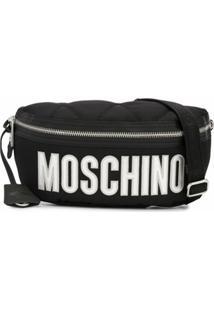 Moschino Pochete Grande Com Logo - Preto