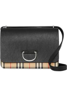 Burberry Bolsa The Medium Xadrez De Couro - Preto
