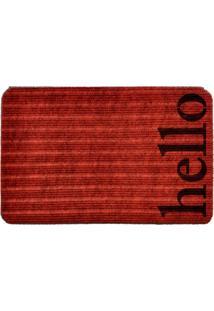 Capacho Carpet Hello Vermelho Único Love Decor