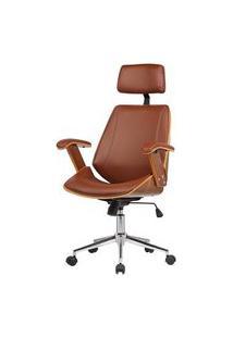Cadeira Office Lisboa Pu Marrom Base Cromada - 37774 Marrom