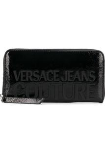 Versace Jeans Couture Carteira Com Zíper E Logo - Preto