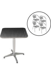 Conjunto Mesa Com 4 Cadeiras Em Alumínio Para Jardim - Mor