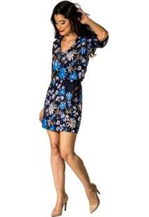 Vestido Estampado Cassia Handbook - Feminino-Azul Escuro