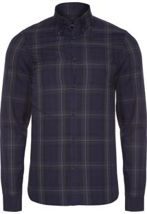 Camisa Masculina Contrast Stripe Tartan - Azul