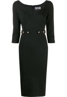 Versace Jeans Couture Vestido Slim Com Cinto - Preto