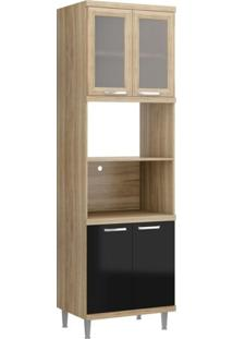 Paneleiro Para Forno Com Porta De Vidro 5120 Sicília Multimóveis Argila/Preto
