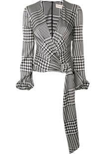 Alexandre Vauthier Houndstooth Wrap Bodysuit - Branco