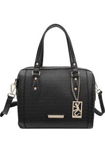 Bolsa Texturizada Com Tag- Preta & Dourada- 21X27X15Fellipe Krein