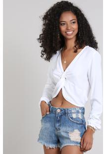 Blusa Feminina Cropped Com Nó Manga Longa Off White