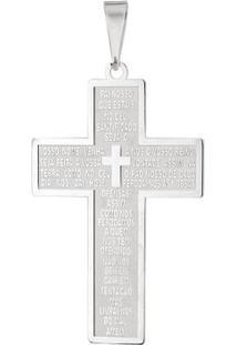 Pingente Cruz Pai Nosso Grande Em Prata 925 - Unissex-Prata