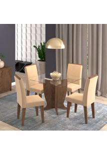 Conjunto De Mesa De Jantar Luana Com 4 Cadeiras Milena Suede Marrocos E Caramelo