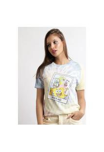 Blusa Feminina Bob Esponja Estampada Tie Dye Manga Curta Decote Redondo Multicor