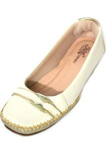 Sapato Prata Couro Conforto Marfim