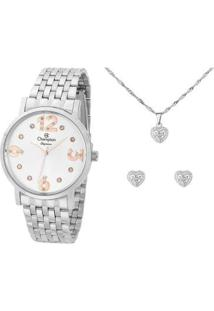 Kit Relógio Feminino Champion Analógico Elegance - Cn24262Y Com Acessórios - Feminino-Prata