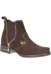 Botina Urbana Boots Couro Feminina - Feminino-Marrom
