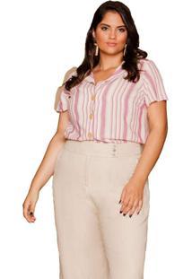 Camisa Almaria Plus Size Pianeta Listrada Rosa