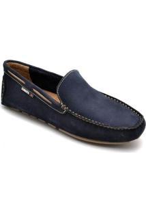 Mocassim D&R Shoes Em Couro Masculino - Masculino-Marinho