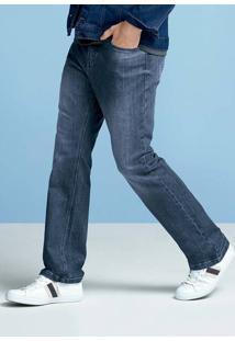 Calça Jeans Masculina Tradicional Em Algodão Com Lavação