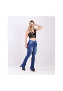 Calça Jeans Feminina Djak 203 Flare Alta Luxuosa Coleção 2021