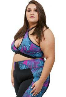 Top Corpusfit Fitness Prints - Folhagem Plus Size - Kanui