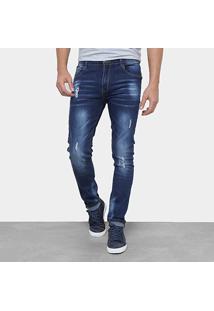 Calça Jeans Skinny Watkins&Krown Estonada Cintura Média Masculina - Masculino