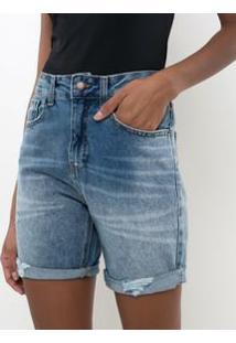 Bermuda Jeans Boyfriend Com Puídos