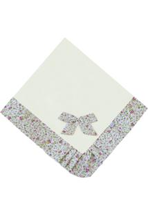 Manta Enxoval Piquet Padroeira Baby Provence Floral Bege