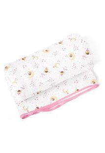 Cobertor Papi Flanelado 1,10 X 0,90M Estampa Fadinha Rosa