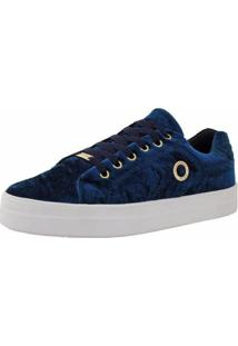 Tênis Emanuelly Shoes Veludo Feminino - Feminino-Marinho