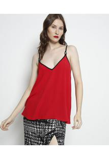 Blusa Lisa Com Tag- Vermelha & Preta- Forumforum
