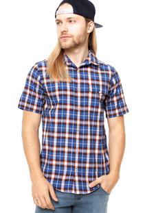 Camisa Manga Curta Dc Shoes Estampa Quadriculada Azul/Vermelha