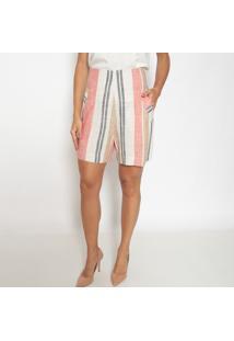 Bermuda Listrada Com Linho- Bege & Vermelho Claro- Sseduã§Ã£O Dress