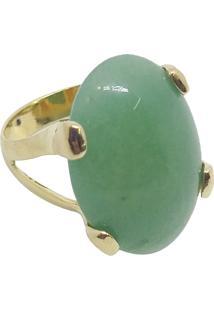 Anel Pedra Natural Oval Semijoia Banho De Ouro 18K Quartzo Verde