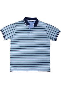 Camisa Polo Listrada Azul Claro M