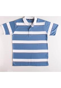 Camisa Polo Listrada Fio Tinto Azul Royal P