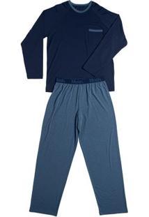 Conj. Pijama Modal Manga Longa Azul Jeans G